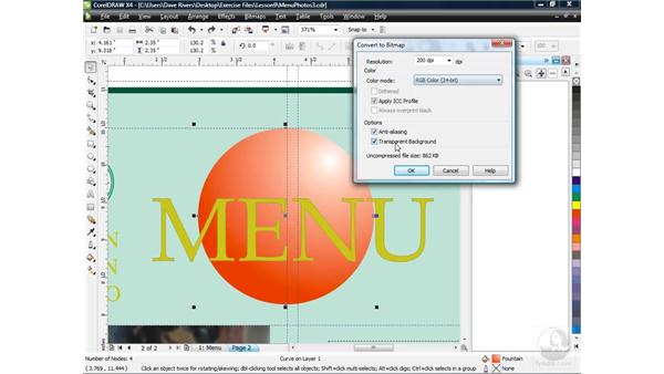 Converting vector objects to bitmap: CorelDRAW X4 Essential Training