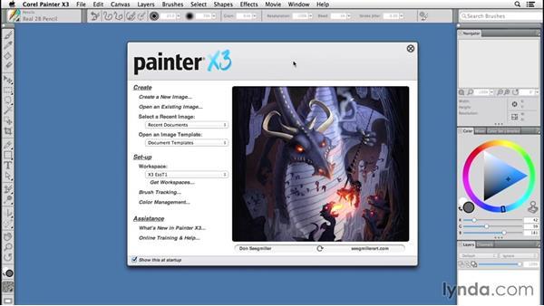 Restoring Painter's workspace: Painter 2015 Essential Training