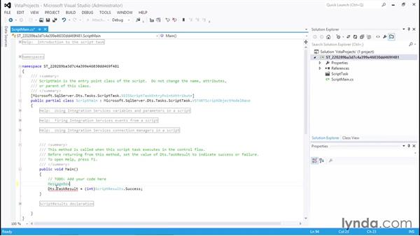 Coding the Script task: SQL Server Integration Services
