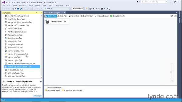 Managing SQL with the SQL tasks: SQL Server Integration Services