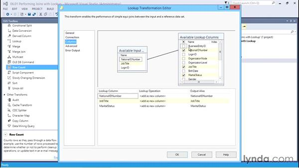Performing joins with the Lookup transformation: SQL Server Integration Services