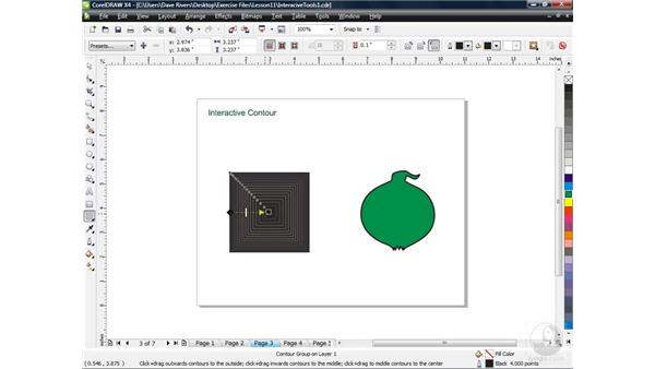 Adding contour with the Contour tool: CorelDRAW X4 Essential Training