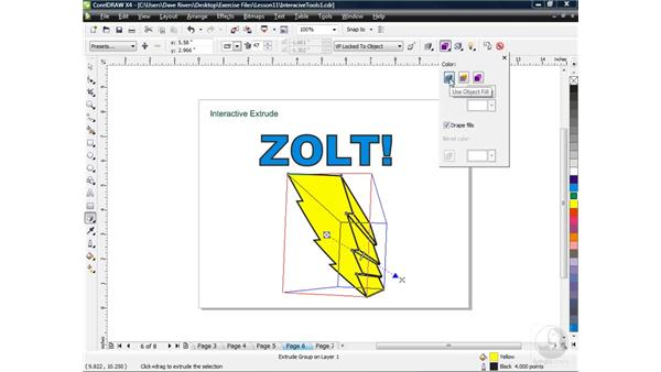 Extruding objects with the Extrude tool: CorelDRAW X4 Essential Training