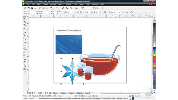 Applying transparency with the Transparency tool: CorelDRAW X4 Essential Training