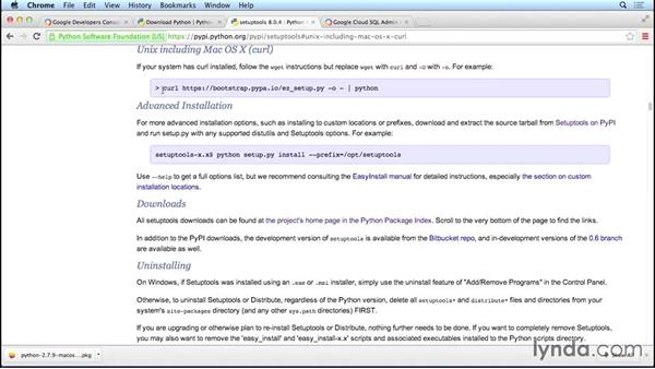 Establishing a Python runtime environment: Google Cloud Compute Engine Essential Training