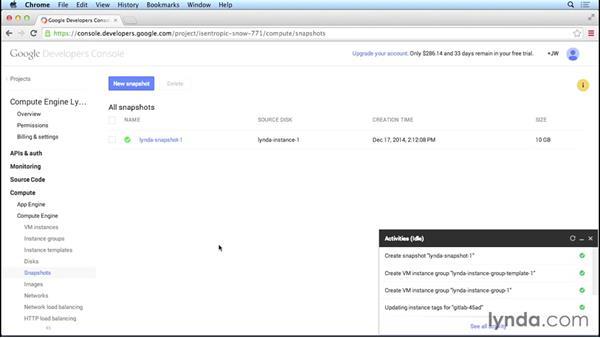 Creating disk snapshots: Google Cloud Compute Engine Essential Training