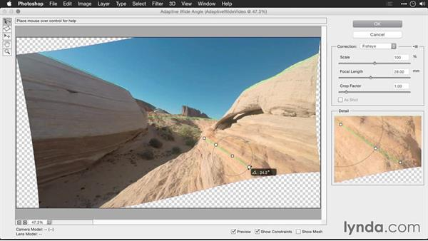 Using adaptive wide-angle controls to remove distortion in video footage: Editing GoPro HERO Photos and Videos with Lightroom and Photoshop