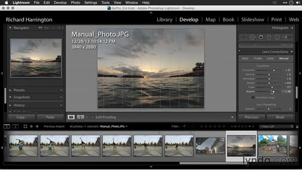 Removing distortion with manual controls: Editing GoPro HERO Photos and Videos with Lightroom and Photoshop