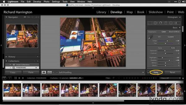 Preparing images for a panoramic photo: Editing GoPro HERO Photos and Videos with Lightroom and Photoshop