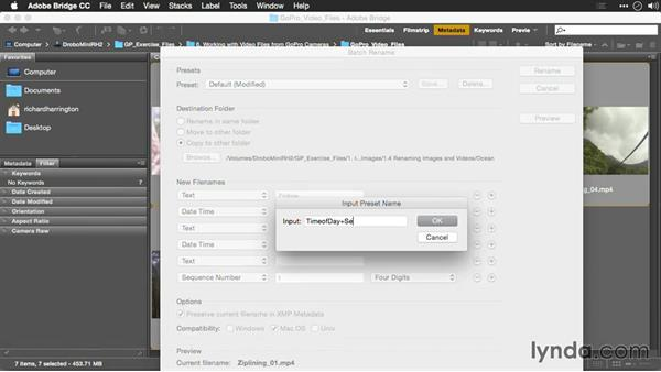 Renaming video clips based on timecode: Editing GoPro HERO Photos and Videos with Lightroom and Photoshop