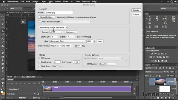 Rendering adjustments and changing frame rates: Editing GoPro HERO Photos and Videos with Lightroom and Photoshop