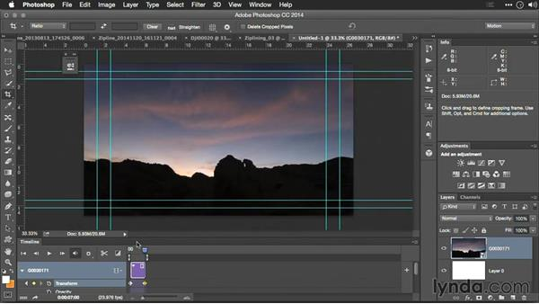 Adding movement and exporting a time lapse from Photoshop: Editing GoPro HERO Photos and Videos with Lightroom and Photoshop