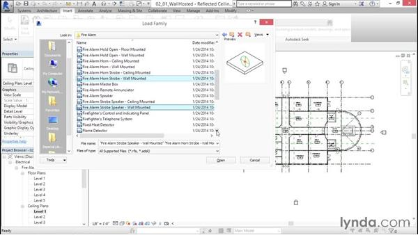 Adding wall-hosted devices: Fire-Alarm Systems Design with Revit