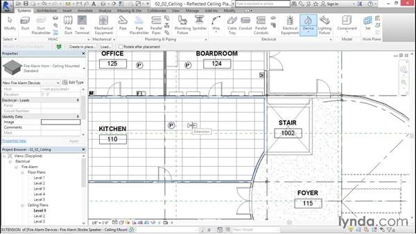 Incorporating ceiling-mounted devices: Fire-Alarm Systems Design with Revit