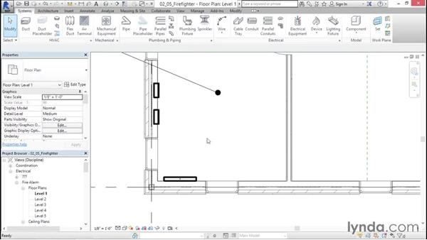 Including a firefighter's control and indicating panel: Fire-Alarm Systems Design with Revit