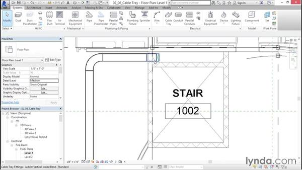 Adding a cable tray: Fire-Alarm Systems Design with Revit