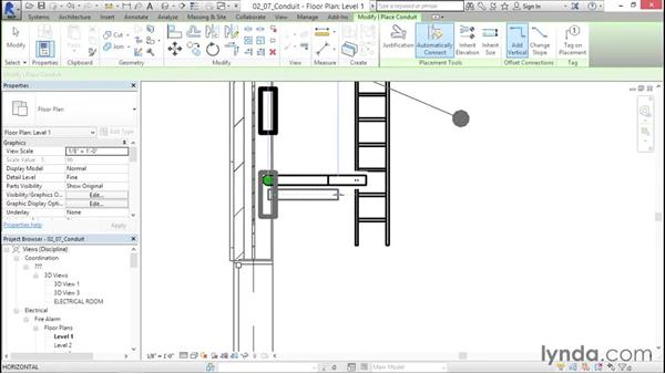 Adding a conduit: Fire-Alarm Systems Design with Revit