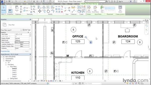 Creating a low-voltage circuit: Fire-Alarm Systems Design with Revit