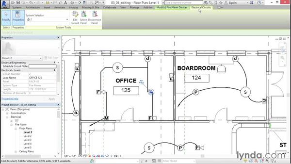 Editing the circuits: Fire-Alarm Systems Design with Revit