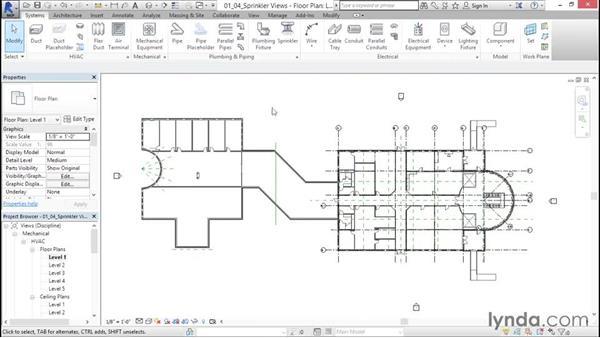 Creating sprinkler and coordination views: Sprinkler Design with Revit