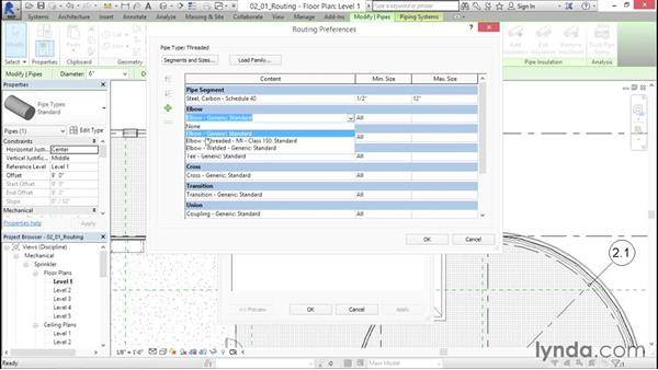 Routing preferences for threaded pipe: Sprinkler Design with Revit