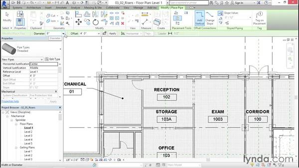 Adding risers and mains: Sprinkler Design with Revit