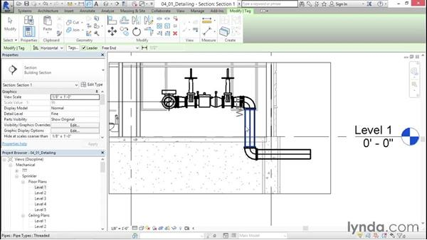 Working with sections: Sprinkler Design with Revit