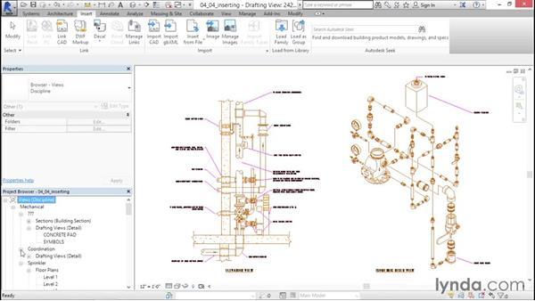 Inserting views from files: Sprinkler Design with Revit