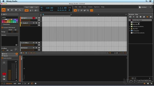 Navigating Bitwig Studio's user interface: Up and Running with Bitwig Studio