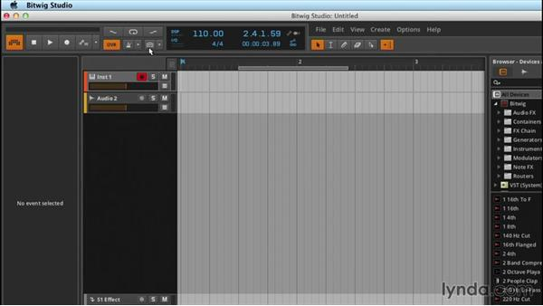 Transport and navigation: Up and Running with Bitwig Studio