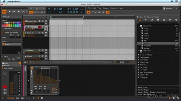 Instantiating an instrument and enabling MIDI control: Up and Running with Bitwig Studio