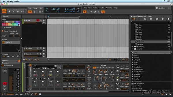 Setting up and using basic MIDI with an instrument: Up and Running with Bitwig Studio