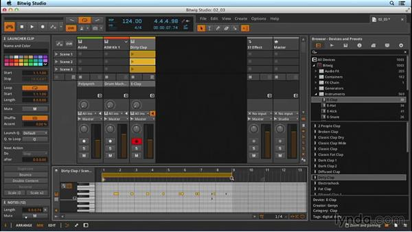 Recording/overdubbing MIDI in the Mix panel: Up and Running with Bitwig Studio