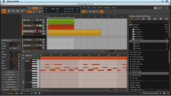 Editing MIDI information: Up and Running with Bitwig Studio