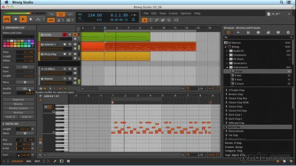 Advanced MIDI functions in the Inspector panel: Up and Running with Bitwig Studio