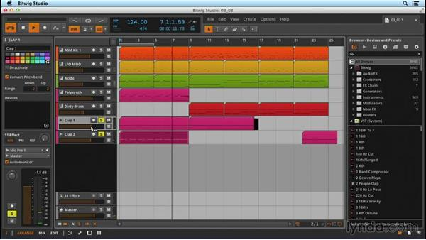 Basic audio-clip customization: Up and Running with Bitwig Studio