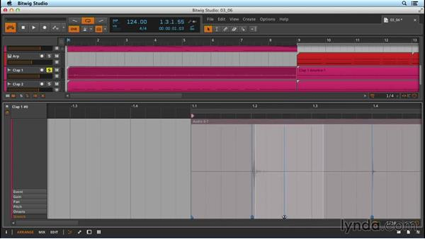Time stretching and correcting: Up and Running with Bitwig Studio