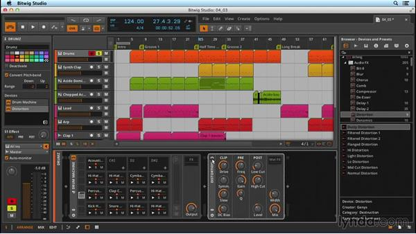 Audio effects as inserts: Up and Running with Bitwig Studio