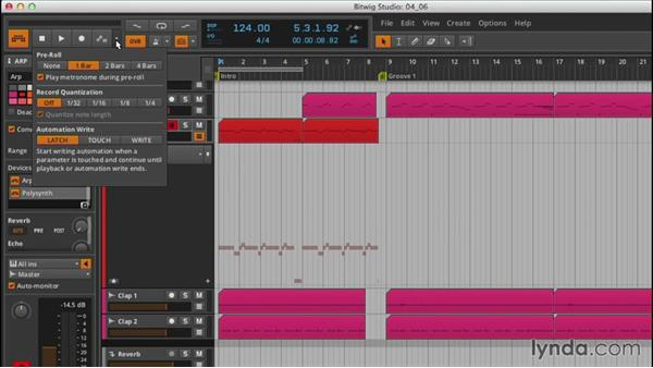 Basic automation in the Arrange view: Up and Running with Bitwig Studio