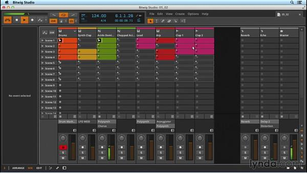 Using hardware controllers to launch clips: Up and Running with Bitwig Studio
