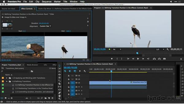 Refining transition position in the Effect Controls panel: Premiere Pro Guru: Better Transitions
