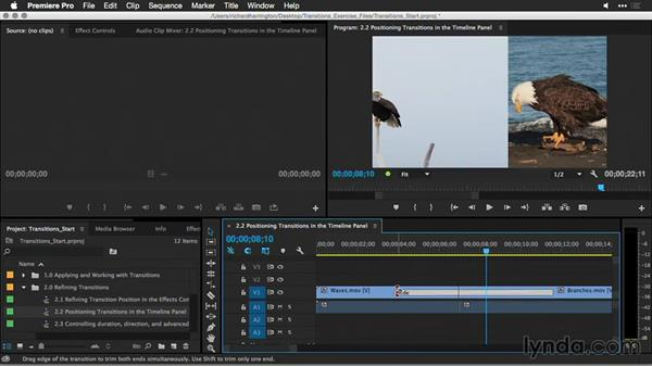 Positioning transitions in the Timeline panel: Premiere Pro Guru: Better Transitions