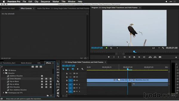 Using single-sided transitions and hold frames: Premiere Pro Guru: Better Transitions