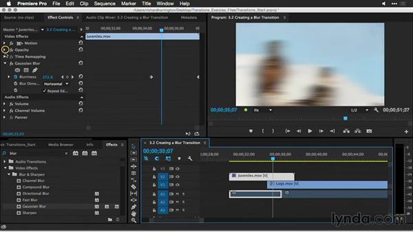 Creating a blur transition: Premiere Pro Guru: Better Transitions