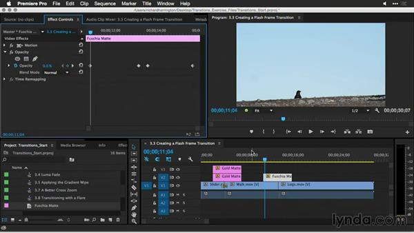 Creating a flash-frame transition: Premiere Pro Guru: Better Transitions