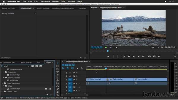 Applying the gradient wipe: Premiere Pro Guru: Better Transitions