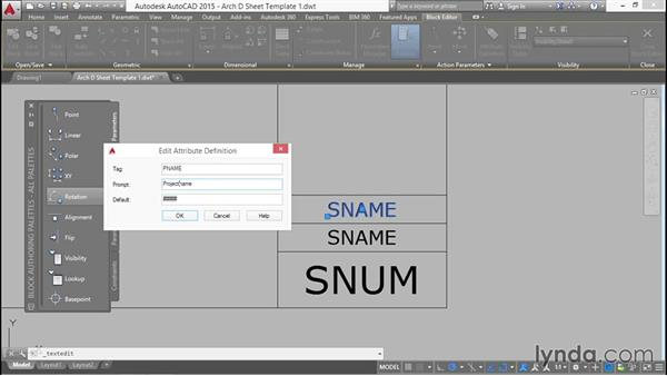 Adding attributes with fields to the title block: Creating Sheet Sets with AutoCAD