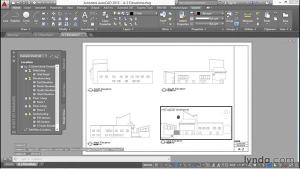 Creating a sheet with four elevations: Creating Sheet Sets with AutoCAD
