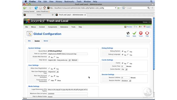 Modifying global configurations: Joomla! 1.5 Essential Training