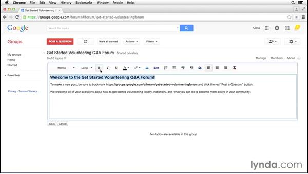 Creating a welcome message: Google Groups Essential Training